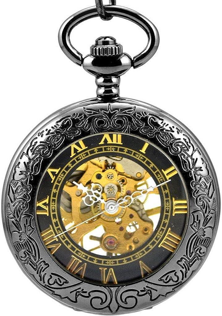 Stayoung Steampunk Antiguo Negro Números Romanos Cuerda Manual Reloj de Bolsillo Mecánico Colgante Cadena Lupa Caballero Negro: Amazon.es: Joyería