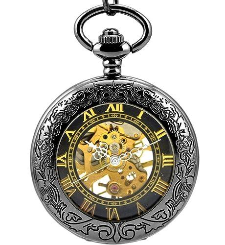 Stayoung Steampunk Antiguo Negro Números Romanos Cuerda Manual Reloj de Bolsillo Mecánico Colgante Cadena Lupa Caballero Negro Alta Calidad: Amazon.es: ...
