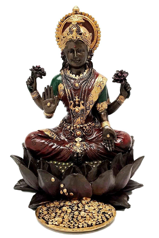 Beautiful Heavenly Hindu Prosperity Goddess Lakshmi Seated On Lotus Flower Figurine Statue