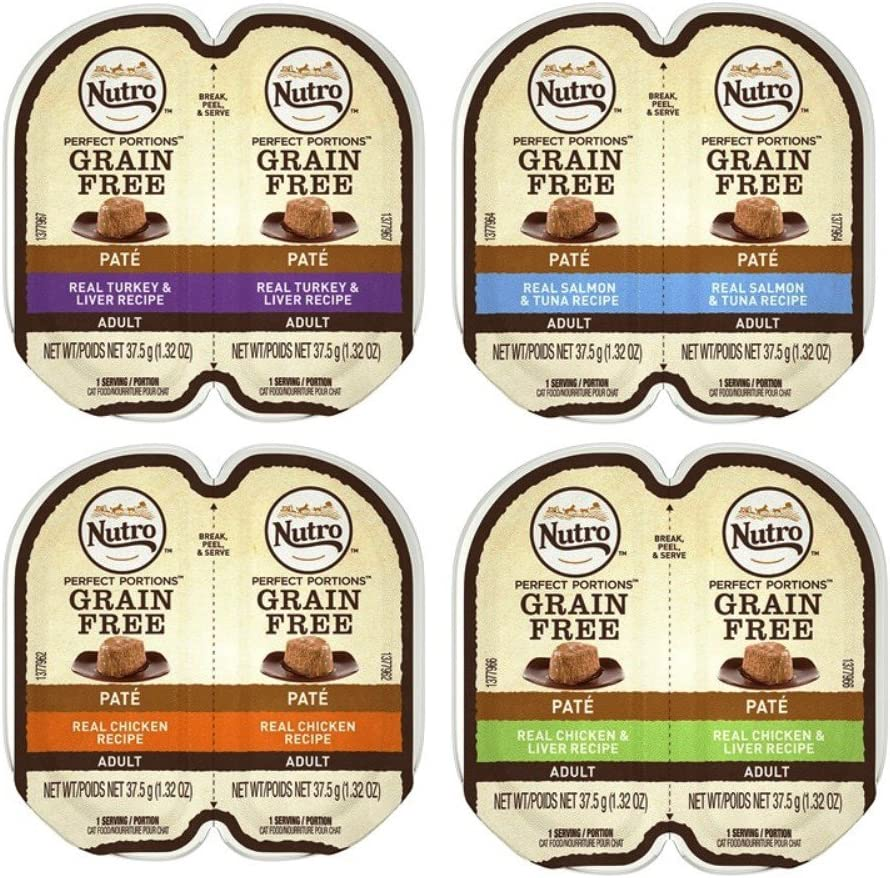 Nutro Perfect Portions Grain-Free Soft Loaf Cat Food 4 Flavor 8 Can Variety Bundle, (2) Each: Turkey & Liver, Salmon & Tuna, Chicken, Chicken & Liver - 2.6 Ounces (8 Cans)