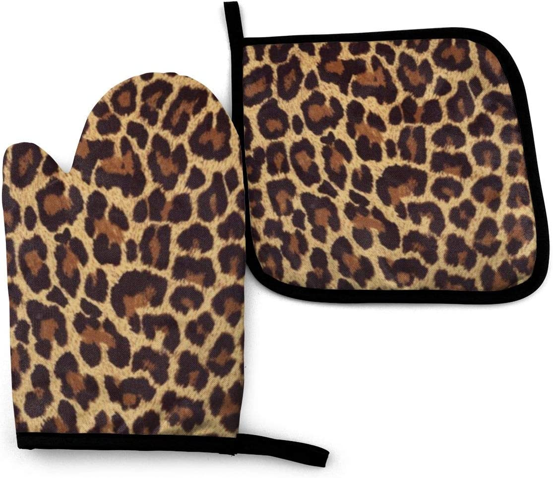 FEAIYEA Leopard Print Oven Mitts and Pot Holders Set Kitchen Gift Set, Non-Slip Textured Grip and Heat Resistant Perfect for Cooking Baking BBQ Grilling