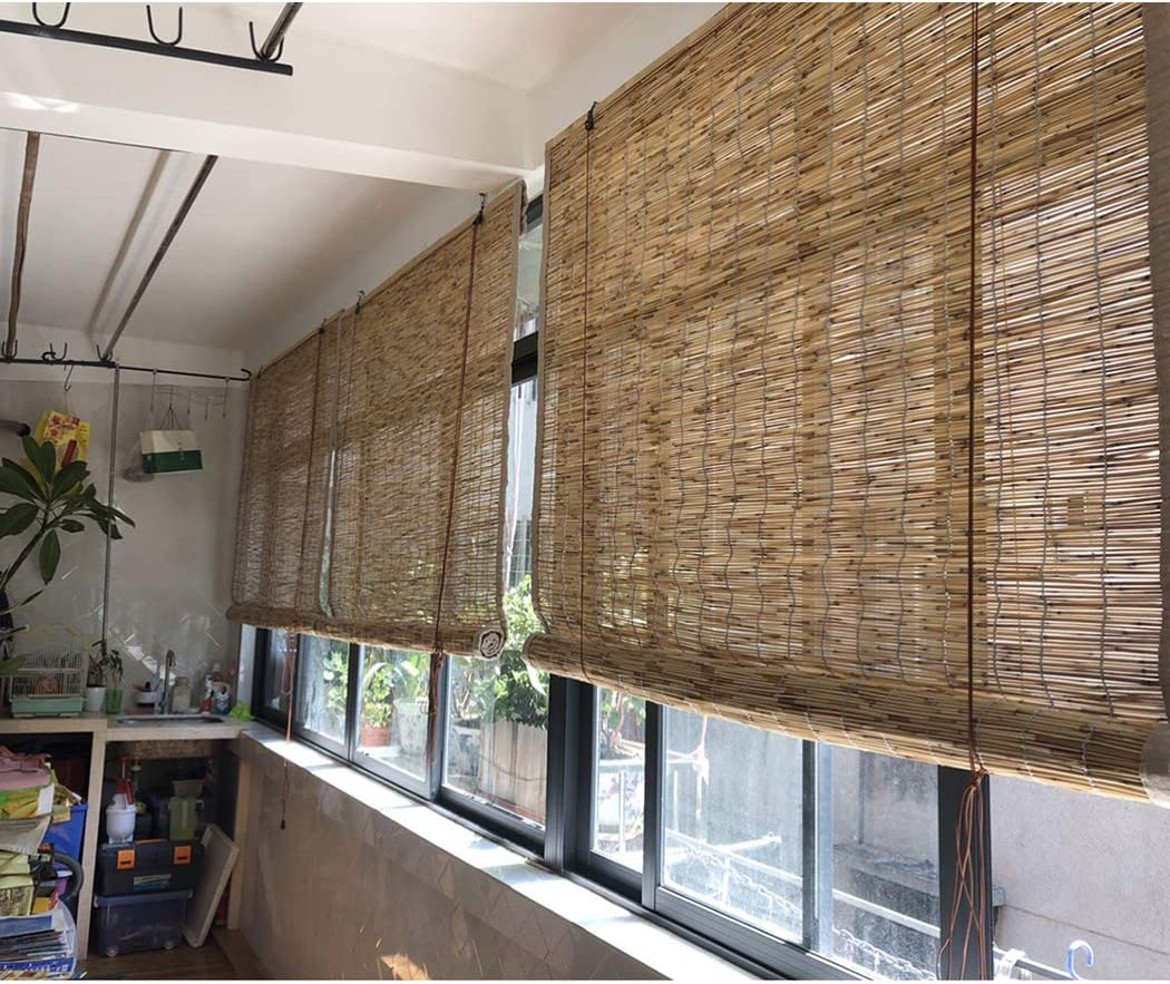 Exterior Roller Shades Made of Reed,Light Filtering Window Treatments with 70/% UV Block,Sunblock Shade Blinds for Outdoor//Patio//Balcony//Pergola//Porch,Breathable,50x60cm//20x24in