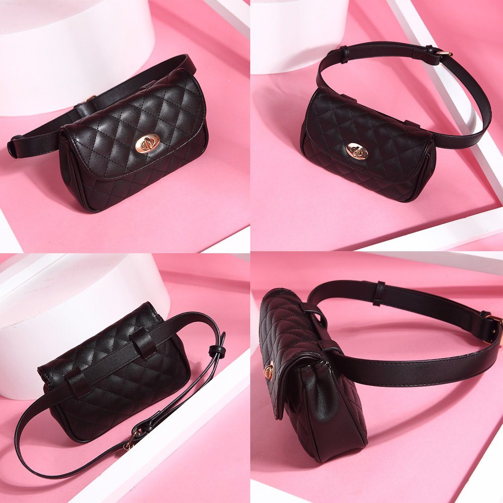 Fanny Pack for Women Fashion Waist Bag PU Quilted Belt Bag Bum Bag Chest Pack with Two Belts (Black) by VAQM (Image #6)