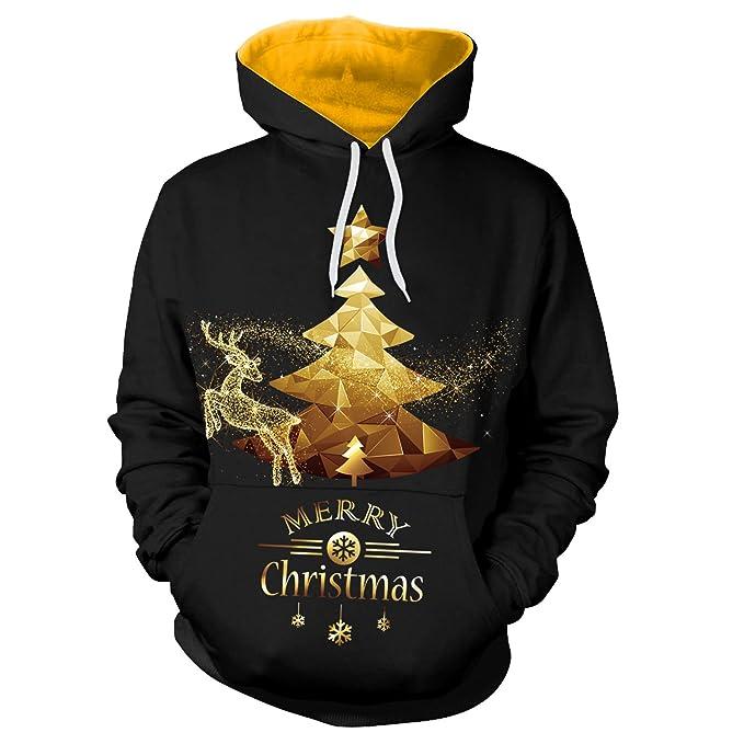 Memoryee Oro Ciervos de la Navidad y el árbol 3D Sudaderas con Capucha Impresas Digitales para