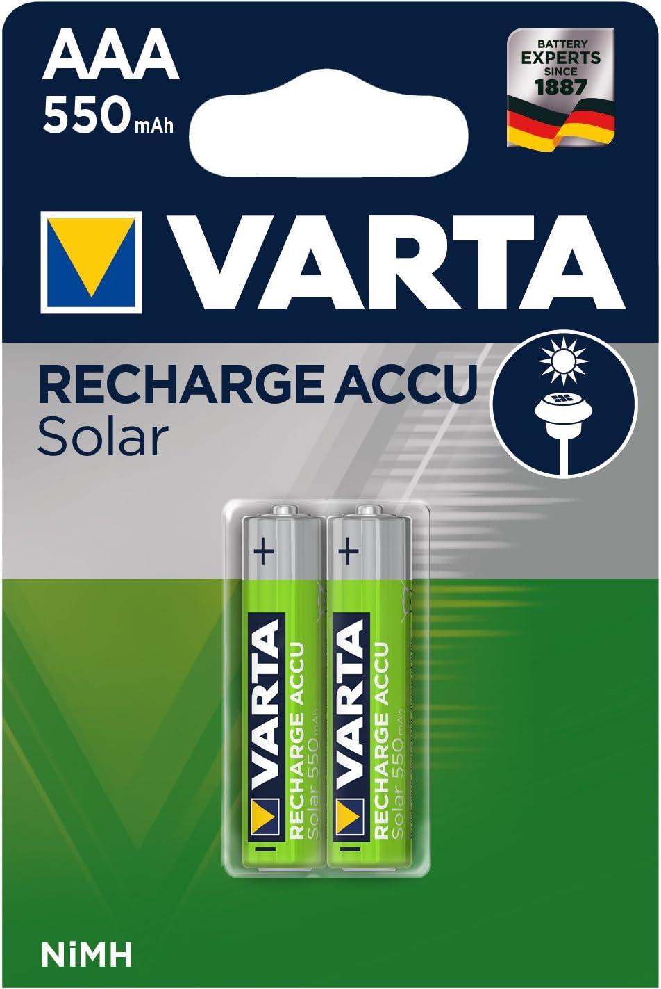 Pila Micro de Ni-Mh VARTA Recharge Accu Solar (AAA, 550 mAh, paquete de 2 unidades), recargable sin efecto de memoria: Amazon.es: Electrónica