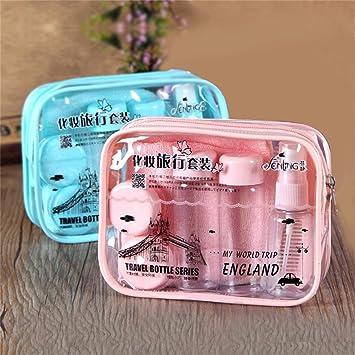 Gugutogo 9 unids/set Bolsa de Envases Cosméticos Vacía Botella de Aerosol Viaje Perfume de Plástico Transparente Champú Loción Corporal Kit Portátil (Color: ...