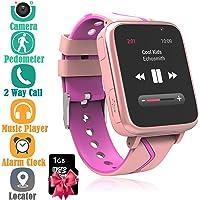 Niños Musica Smartwatch Phone, Reloj Inteligente MP3 con Localizador GPS Chat de Voz SOS Cámara Despertador FM Linterna…