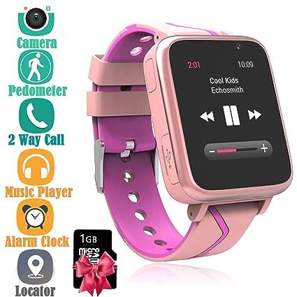 Niños Musica Smartwatch, Reloj Inteligente para niños con Reproductor de música MP3 [Micro SD de 1GB Incluido] Cámara podómetro FM Reloj Despertador ...