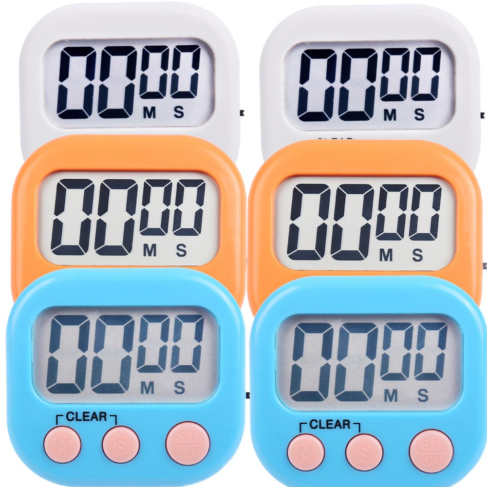 Amazon.com: 6 Pack Digital Kitchen Timer Magnetic Countdown Up ...
