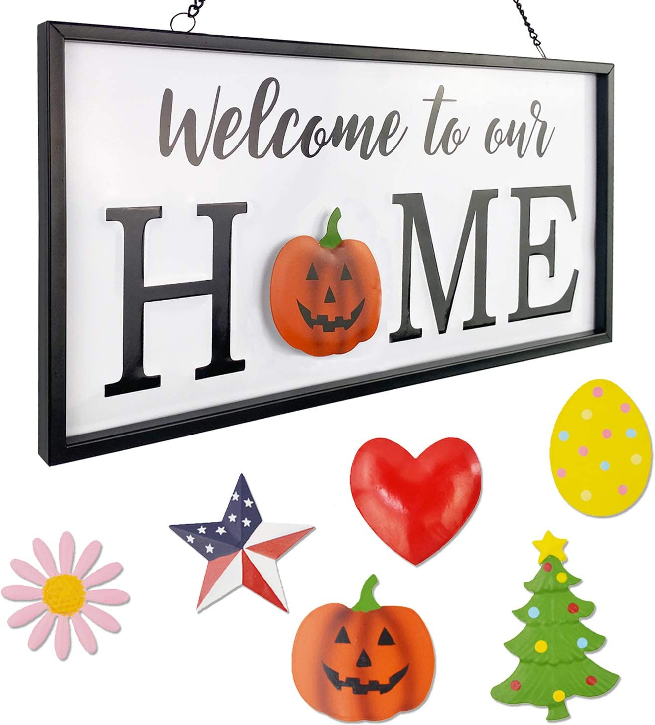 Winder Metal Interchangeable Seasonal Welcome Sign Set of 6 Wall Decor Front Door Home Decor Sign Wall Hanging Home Signs Spring Easter Fall Halloween Thanksgiving Christmas National Day
