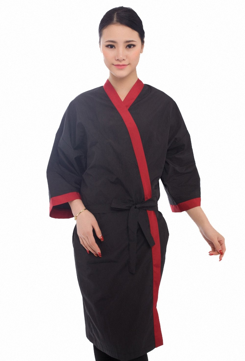 Salon Client Gown Robes Cape, Hair Salon Smock for Clients- Kimono Style - Red Trim Perfehair SW001