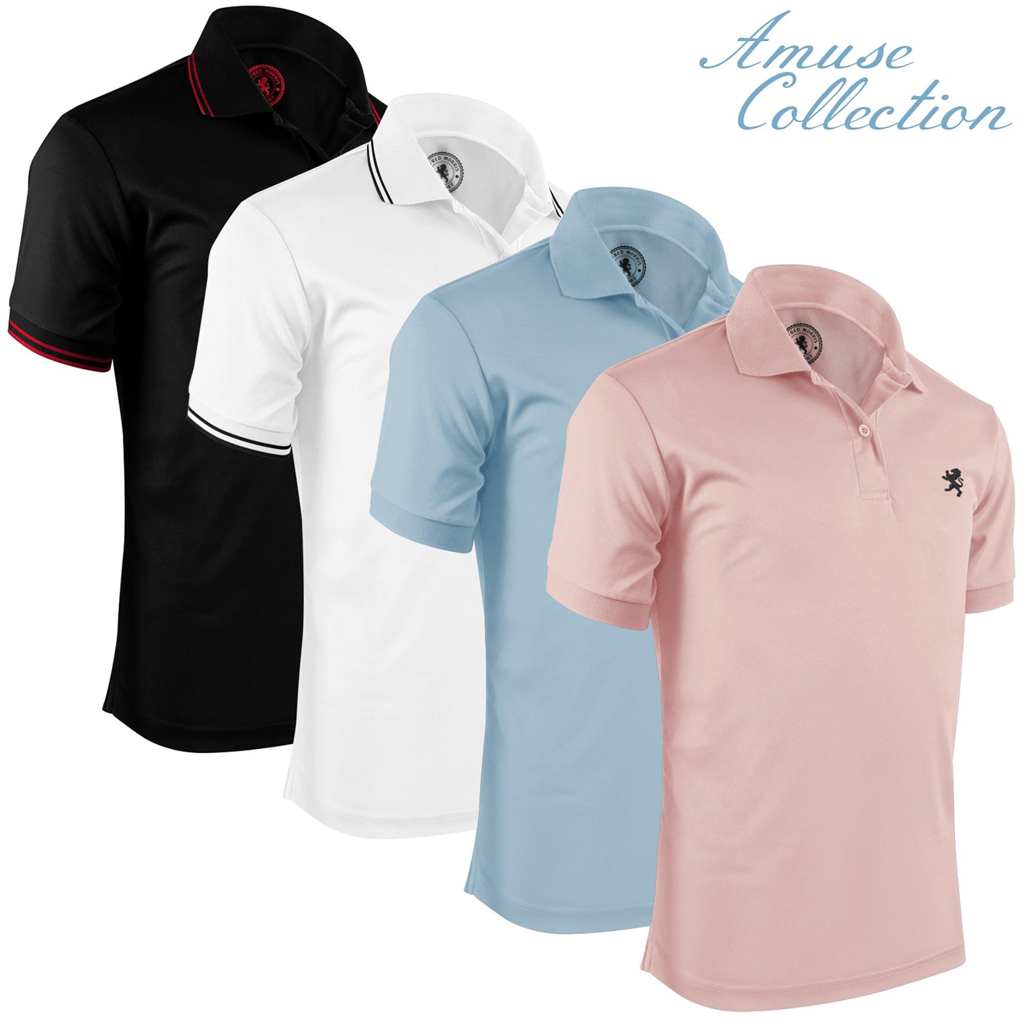 Albert Morris Short Sleeve Polo Shirts for Men - 4 Pack, Amuse, Large