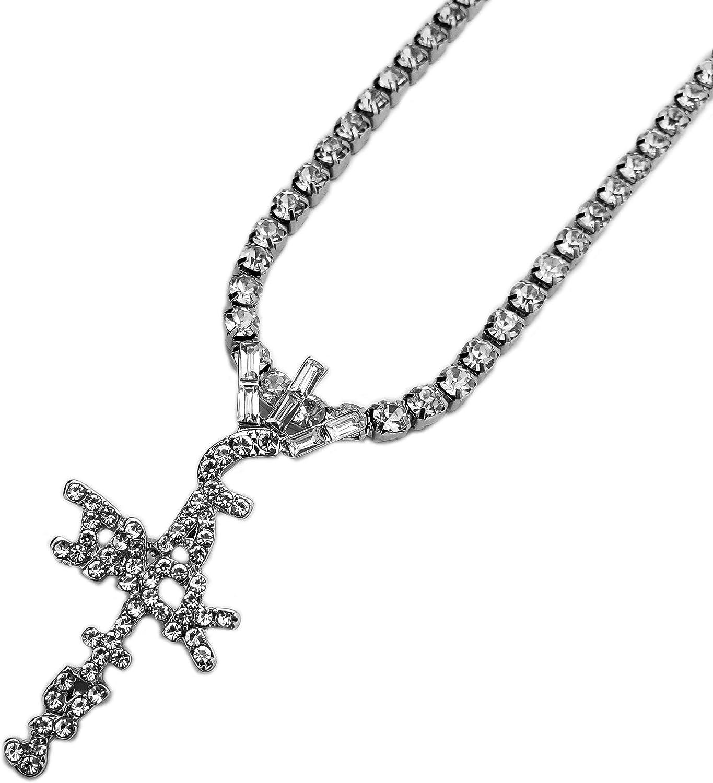 "BLINGFACTORY Hip Hop Iced Crystal Cactus Jack Cross Pendant & 18"" Rhinestone Chain Necklace"