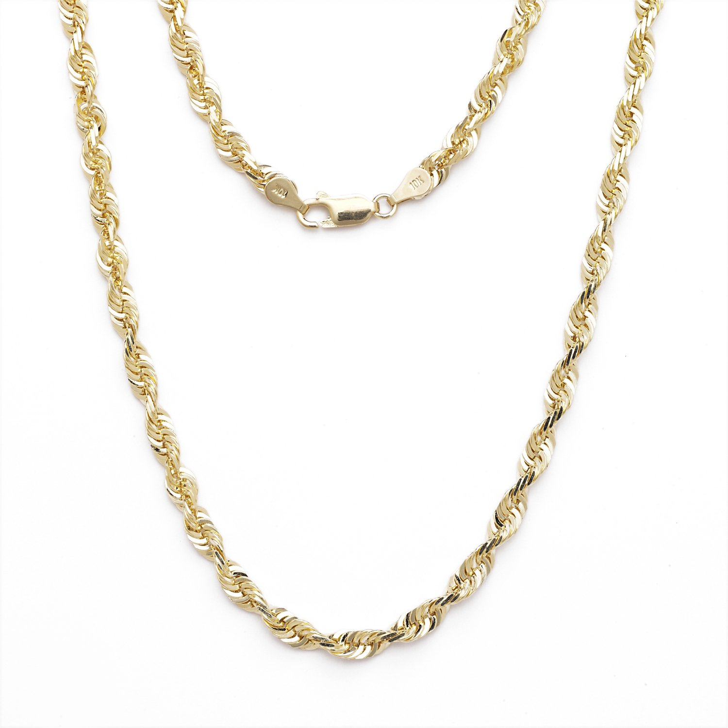 26 Inch 10k Yellow Gold Solid Extra Light Diamond Cut Rope Chain Necklace 4mm