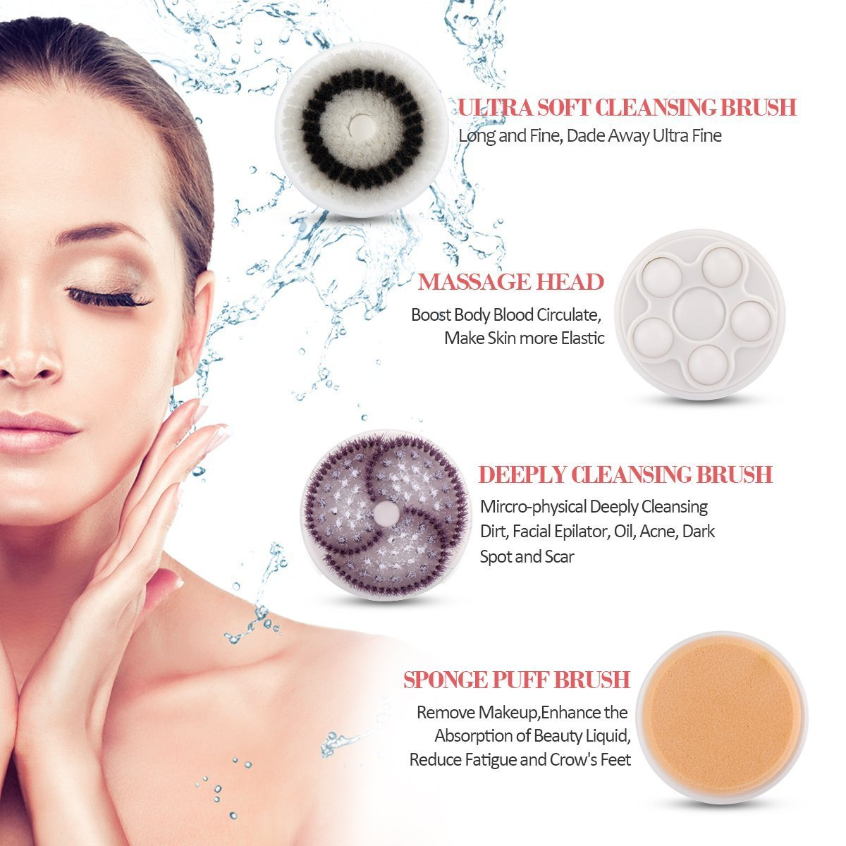 Zinnor Facial Brush 2 Speed Deep Cleansing Facial Brush Spin Brush with 4 Massager Brush Heads Remove Blackhead Cleansing System