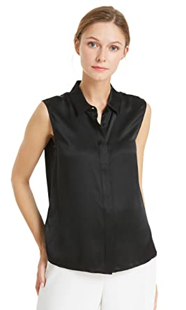 6093547acb5d1d LilySilk Silk Vest Top for Women Pure Mulberry 22MM Office Basic Style Soft  Ladies Tanks Black
