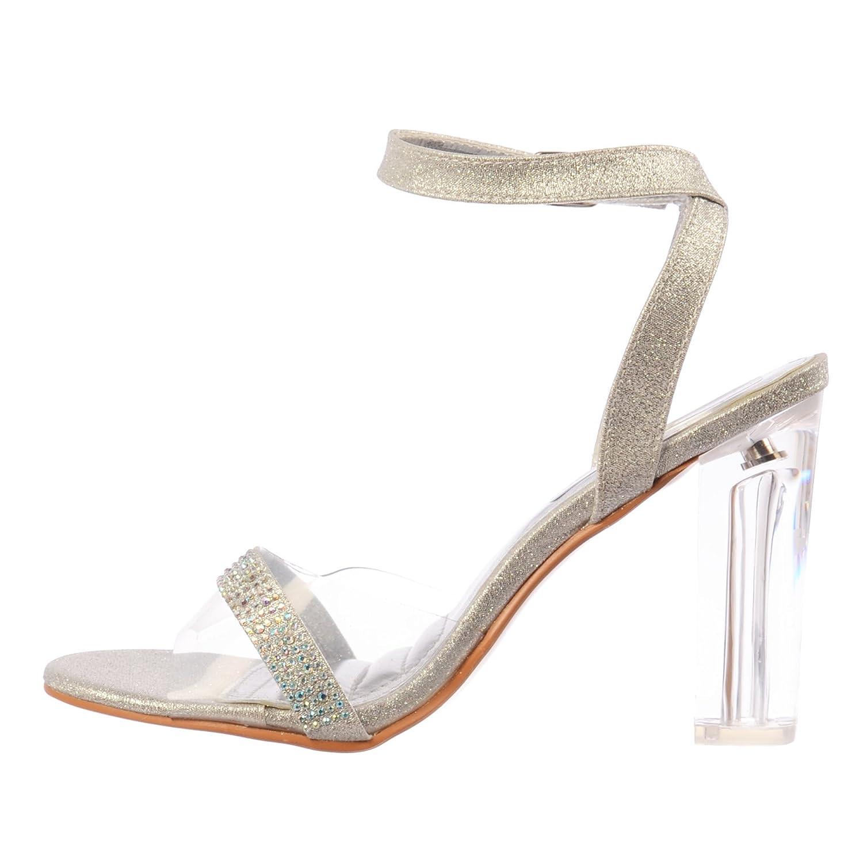 82bcb3a648e6 Amazon.com | Onlineshoe Women's Diamante Strappy Perspex Mid Heel Party Shoe  Pumps | Heeled Sandals