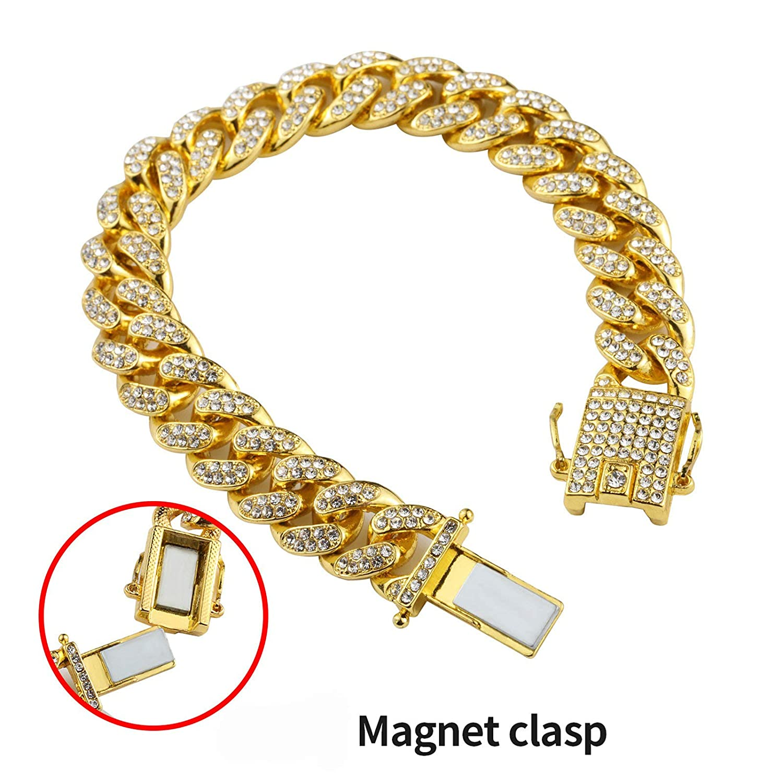 Epinki 12MM Chain Necklace for Men Gold//Silver Curb Chain Cubic Zirconia White Hip Hop Chain for Men Pendant Necklace Length 60//75CM