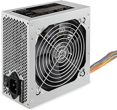 TooQ TQEP-500SSE-O - Fuente de Alimentacion Ecopower II de 500W, Ventilador silencioso de 120mm con control automatico de velocidad, (ATX 12V V1.3, CE/RoHS, color plata) Caja Blanca: Amazon.es: Informática