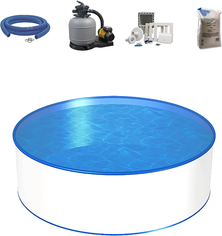 Set de piscina, tamaño y profundidad a elegir, piscina con pared de acero de 0,4mm, pantalla, instalación de filtro de arena SF y filtro de arena, skimmer y juego de manguera