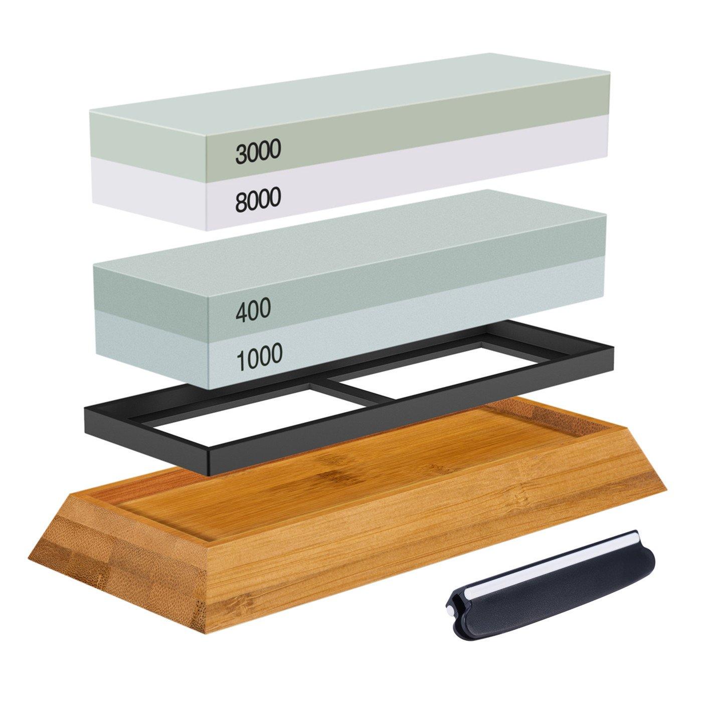 Premium Knife Sharpening Stone Kit, ASEL 4 Side 400/1000 3000/8000 Grit Whetstone, Best Kitchen Blade Sharpener Stone, Non-Slip Bamboo Base and Bonus Angle Guide Included