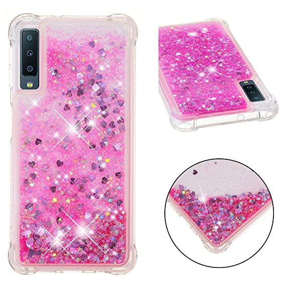 Amazon.com: Galaxy A7 2018 Case, Ranyi Liquid Glitter Case ...