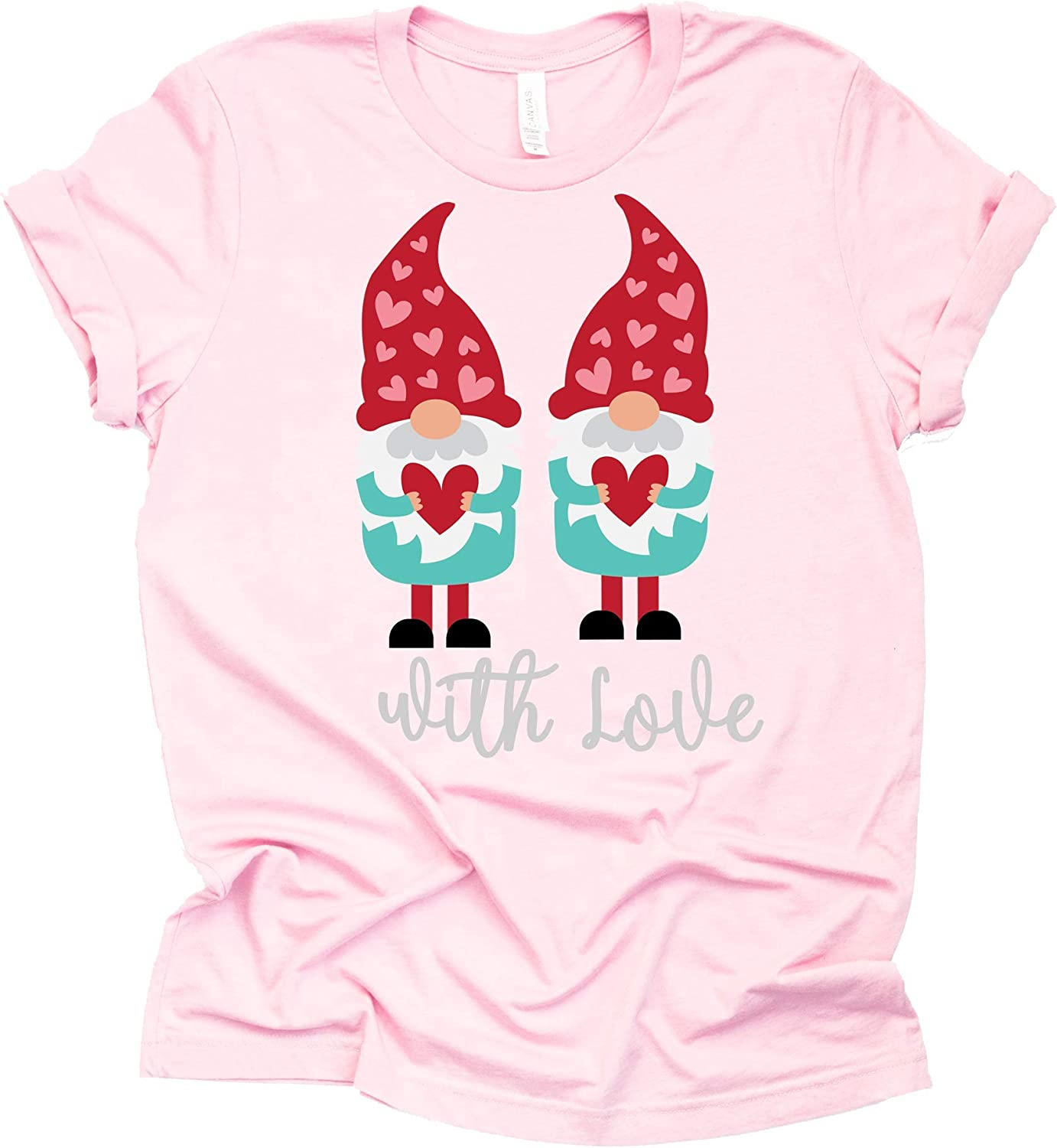 Eoeth Valentines Day Gnome Heart Printed Blouse Women Short Sleeve O-Neck T-Shirt Top Shirts Pullover