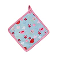 Homescapes - Pure Cotton Pot Holder - Birds and Flowers - Pink Blue - 20 x 20 cm - Fully Coordinated Washable Kitchen Linen