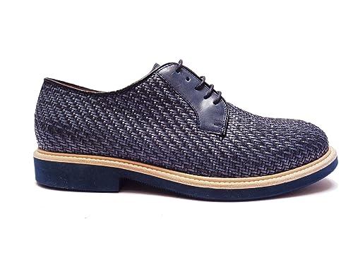 Antica Cuoieria scarpe da uomo in pelle intrecciata Blu fondo in  micro-gomma leggera f11c5695bf9