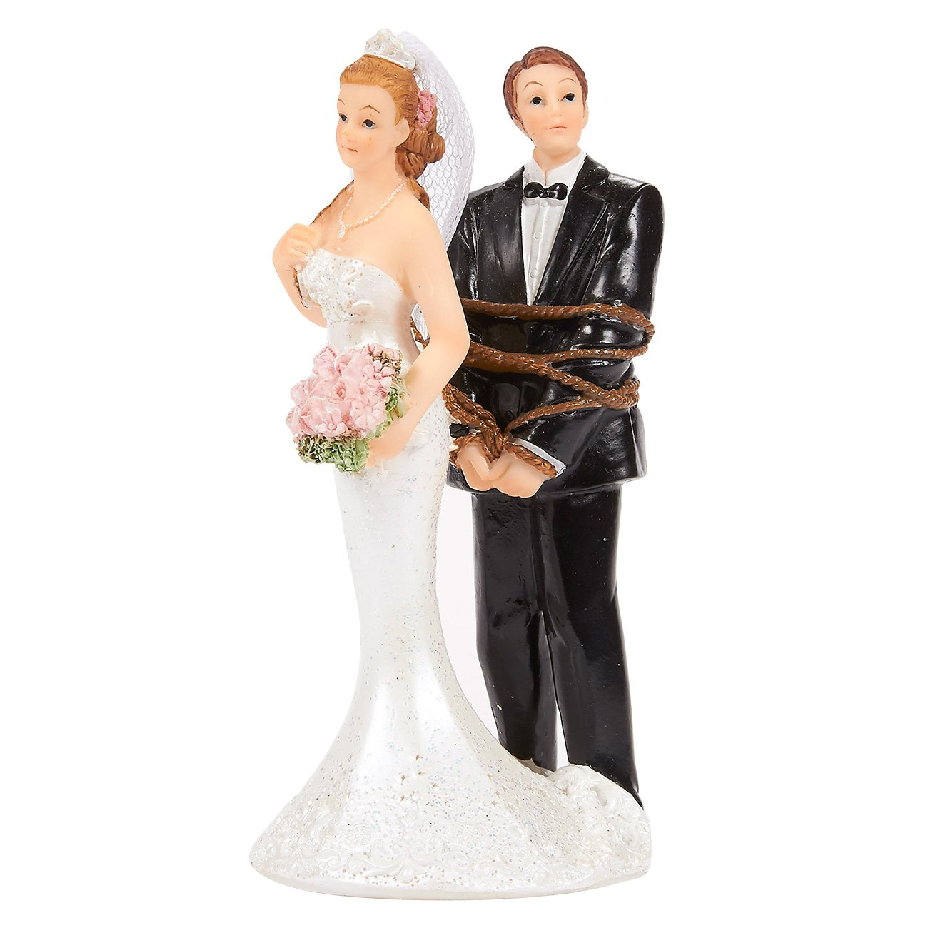 Wedding Cake Topper - Bride Tied up Groom Figurines