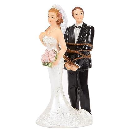 Amazon Com Juvale Wedding Cake Topper Bride Tied Up Groom