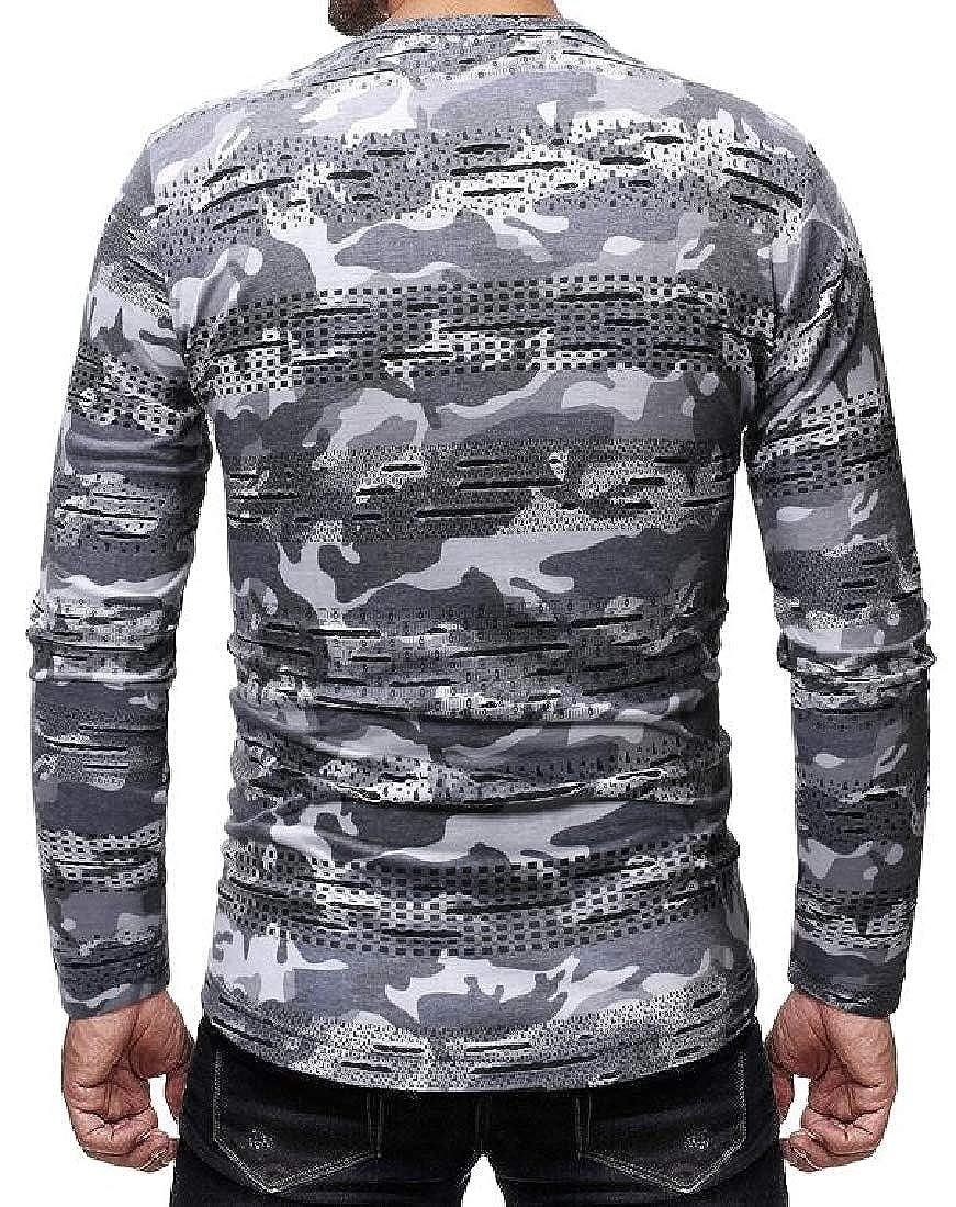 deb20d44c9b8 CRYYU Men Camo Print Ripped Distressed Crew Neck Hollow Out Long Sleeve T-Shirt  Tee Top | Amazon.com
