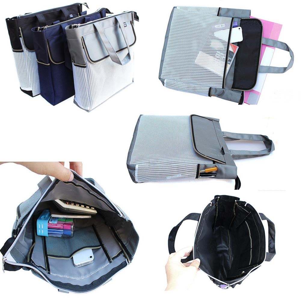 Portable Document Organizer A4 Zipper Waterproof Storage Bag-Black