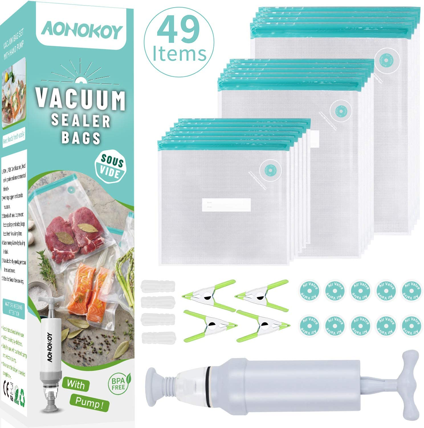 Sous Vide Bags 30 Reusable Vacuum Food Sealer Bags for Anova, Joule Cookers, 3 Sizes Sous Vide Bag Kit with Pump, 4 Sous Vide Bag Clips, 4 Sealing Clips, 10 Air Valve Port Stickers for Food Storage and Sous Vide Cooking (Tiffany Blue)