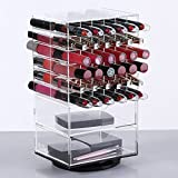 Ikee Design Premium Clear Large Acrylic Rotating Cosmetic 72 Lipsticks and 2 Drawers Tower Organizer