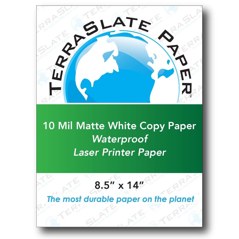TerraSlate Paper 10 MIL 8.5'' x 14'' Waterproof Laser Printer/Copy Paper 50 Sheets by TerraSlate Waterproof Paper