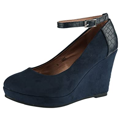 1d29966e38 ByPublicDemand Eleanor Womens High Wedge Heel Two Tone Navy Blue Faux Suede  5 UK / 38