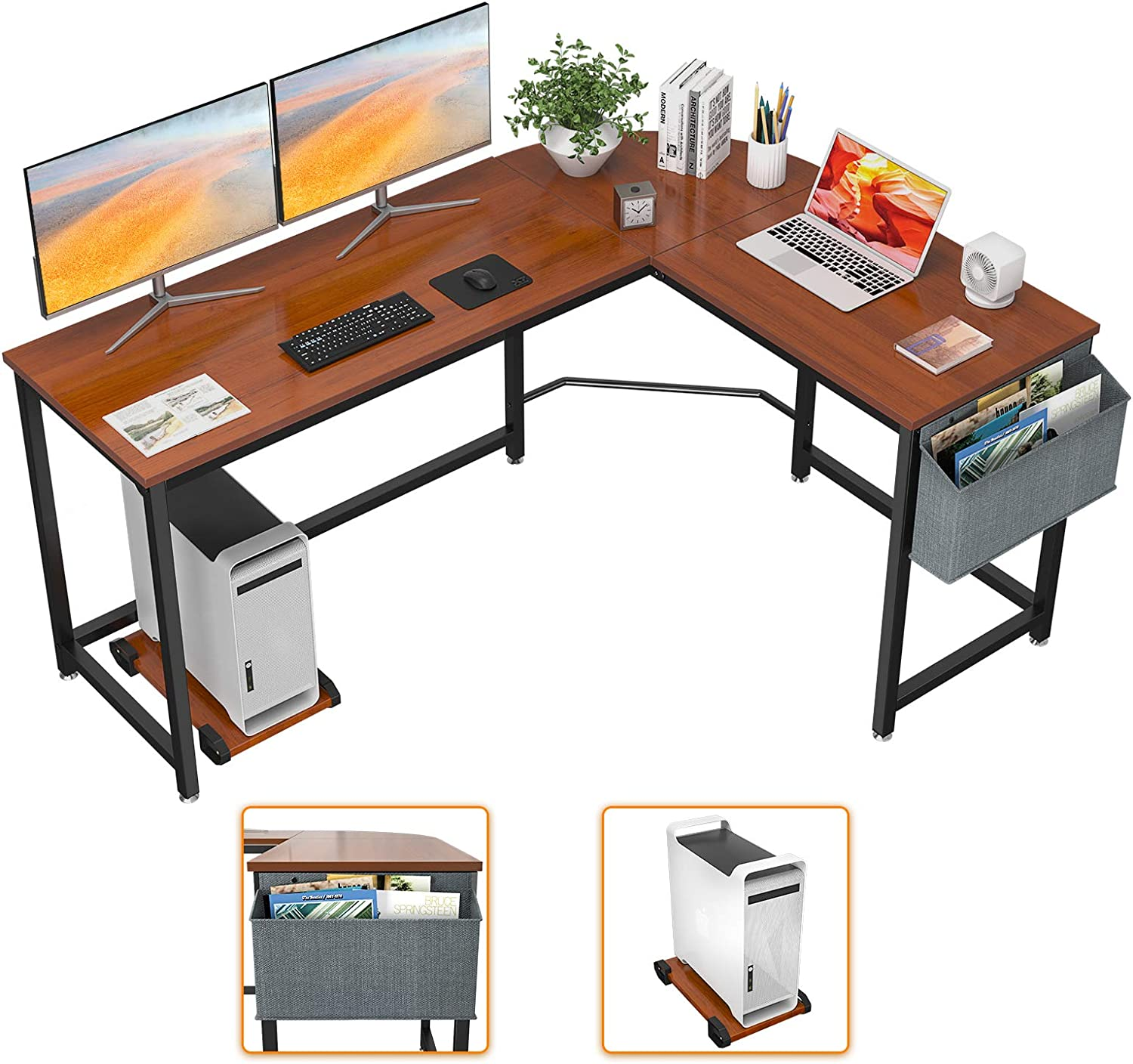 Homfio L Shaped Desk 58'' Computer Corner Desk Gaming Desk PC Table Writing Desk Large L Study Desk Home Office Workstation Modern Simple Multi-Usage Desk with Storage Bag Space-Saving Wooden Table