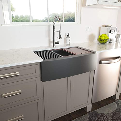 Lordear 36 inch Farmhouse Kitchen Sink Apron Front Single Bowl Workstation Gunmetal Matte Black 16-Gauge Stainless Steel Single Bowl Kitchen Farm Sinks