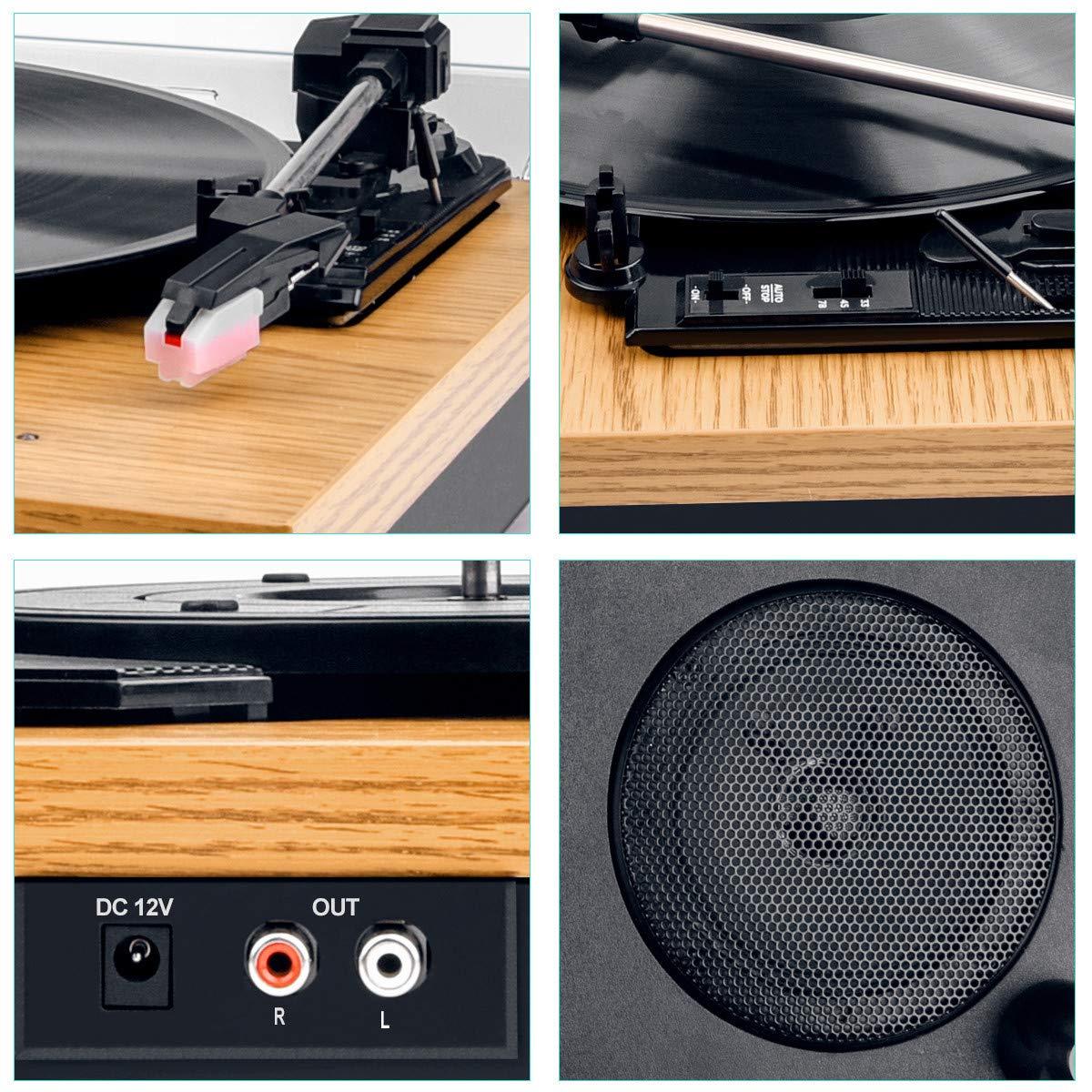 Platine Vinyle,Popsky Tourne-Disque Bluetooth 3 Vitesses /à Plateau tournant Vintage avec Haut-Parleur Lecteur Vinyle Portable LP Sortie Ligne RCA Bois Naturel