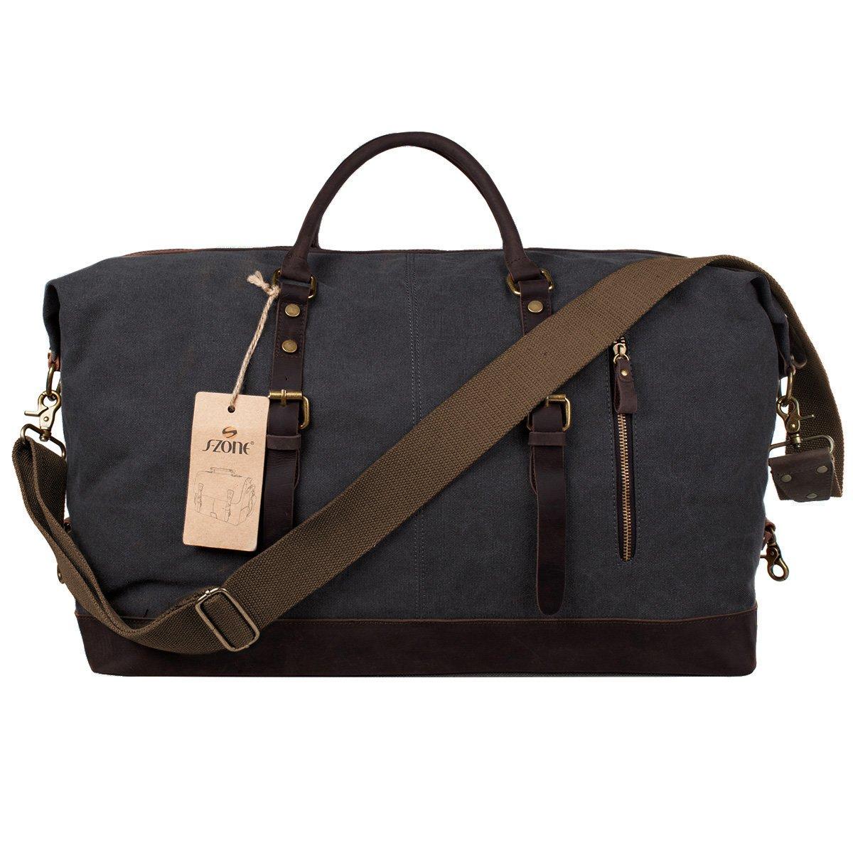 S-ZONE Oversized Canvas Genuine Leather Trim Travel Tote Duffel Shoulder Handbag Weekend Bag