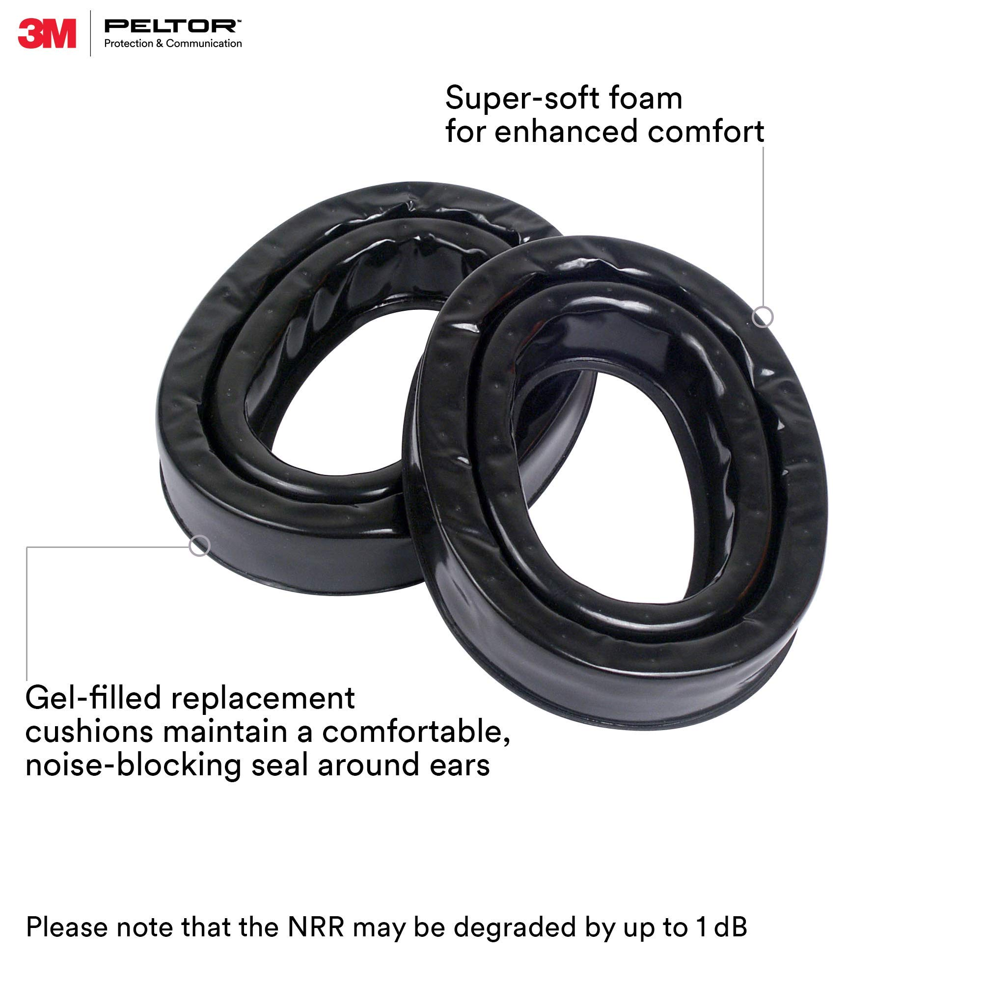3M Personal Protective Equipment PELTOR Camelback Gel Sealing Rings HY80, Comfort Replacement Earmuff Cushions, Black by 3M Personal Protective Equipment (Image #2)