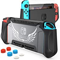 Nintendo Switch Case Dockbale with Screen Protector and 6 Thumb Stick Caps, HEYSTOP TPU Protective Cover Case for…