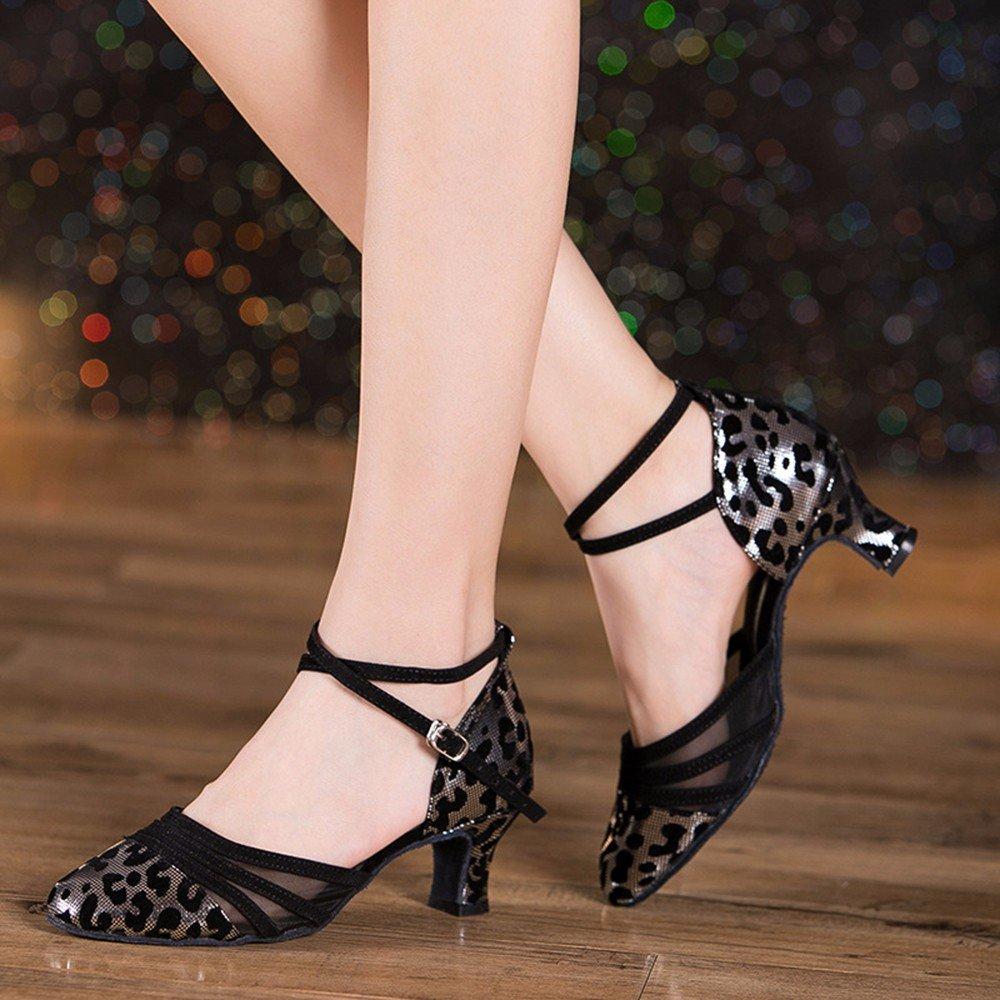 Léopard d'argent US8.5 EU39 UK6.5 CN40 Masocking@ Femme Chaussures de Danse Sandales Chaussures d'intérieur,sangles