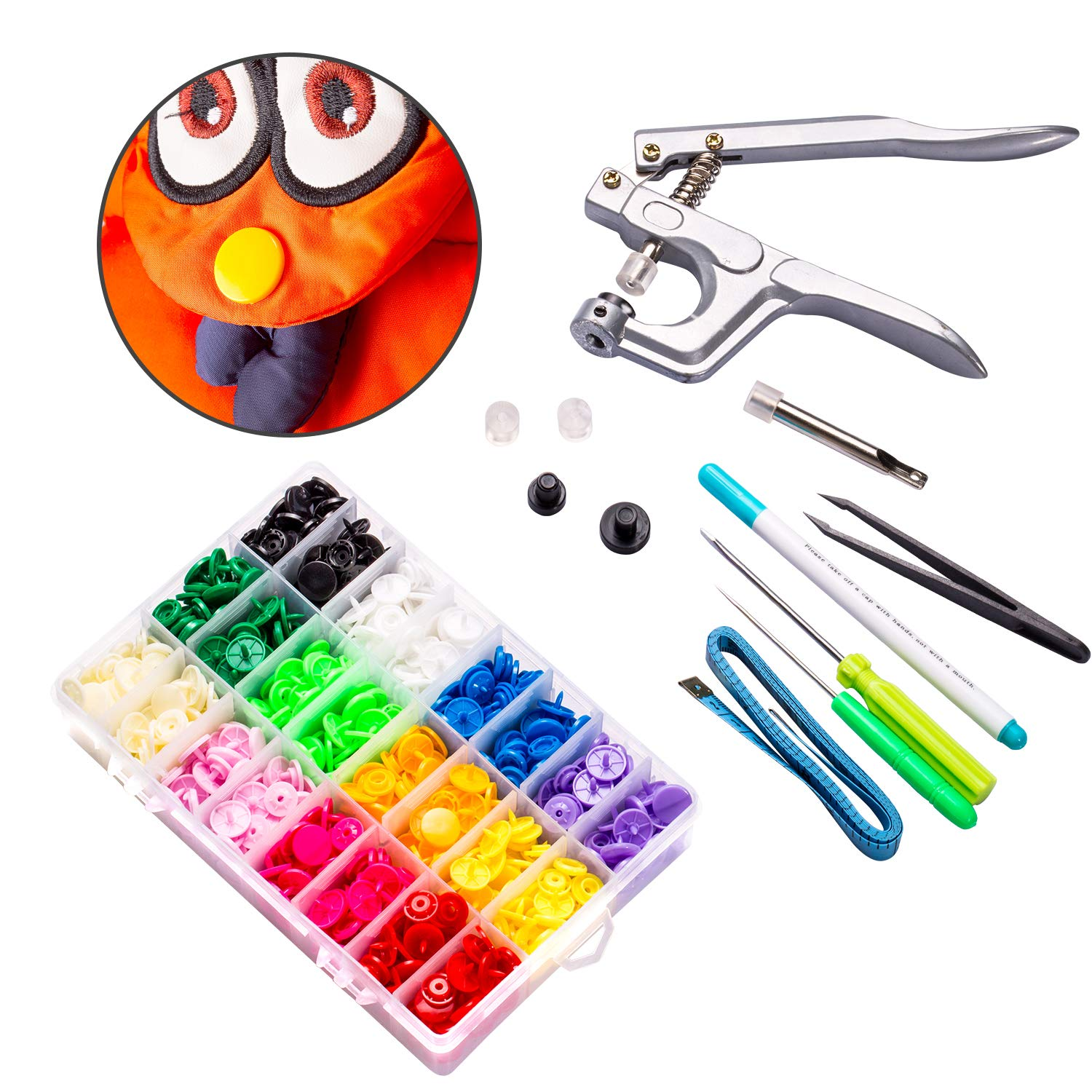 Lynda T8 Plastic Snap Fastener and Snap Pliers- Snap Fastener KIT with 240pcs Snap Buttons- for Diapers/Curtains/Kid's Clothes/Crafts by LYNDA