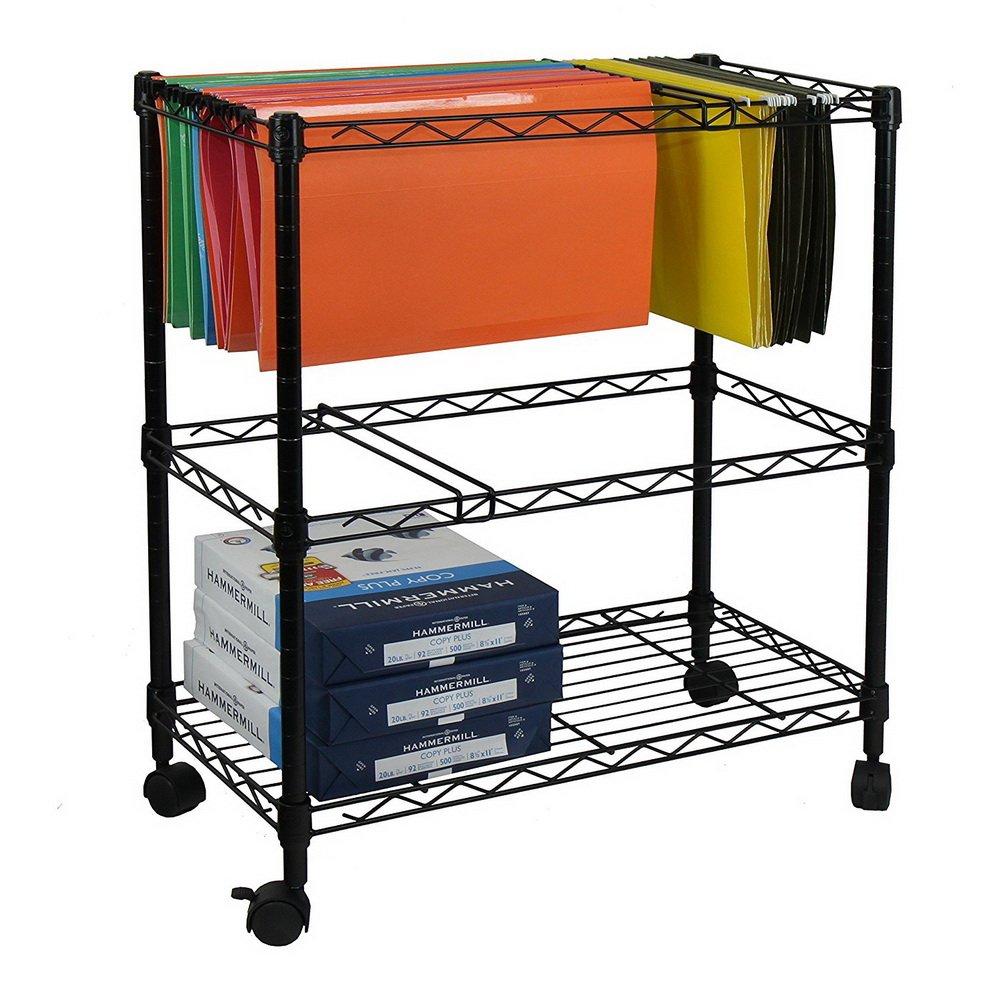 Tow Tier File Cart,Rolling Metal File Organizer Portable File Storage Mobile Office File Cart with Wheels Office Supplies Letter Size Black