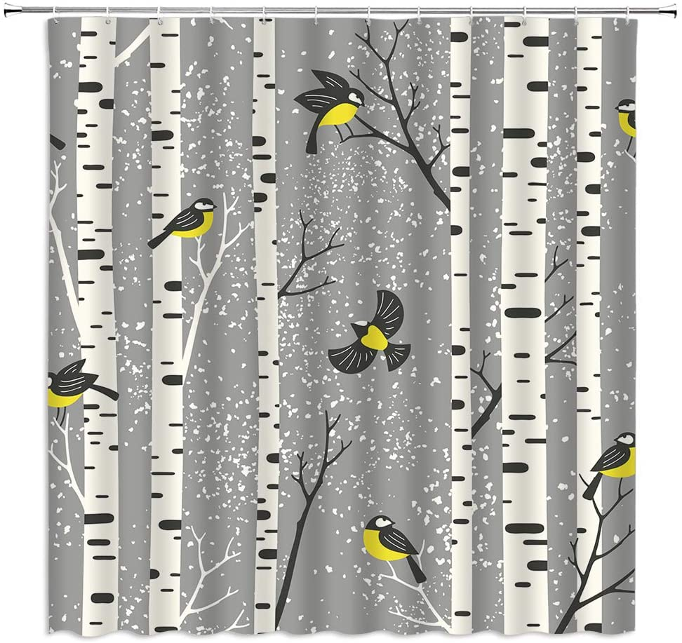 Birch Trees Shower Curtain Cute Birds in Snowing Aspen Forest Winter Abstract Nature Illustration Decor,Fabric Bathroom Set Hooks Included,Tree