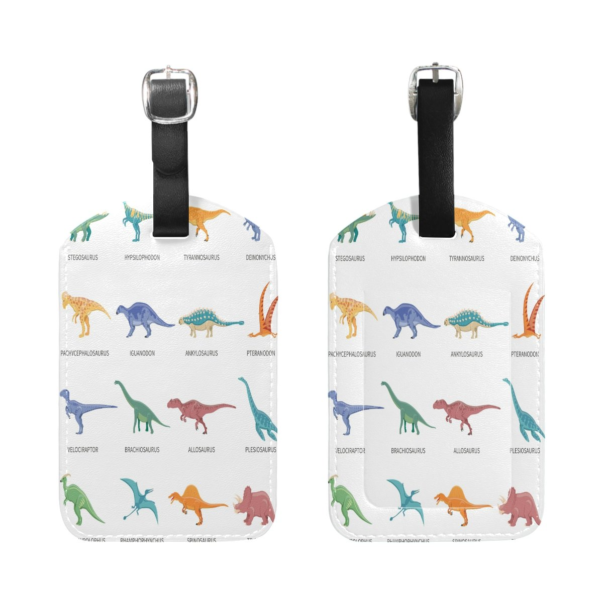 Saobao Travel Luggage Tag Dinosaurs Colored Isolated Icons Set PU Leather Baggage Suitcase Travel ID Bag Tag 1Pcs
