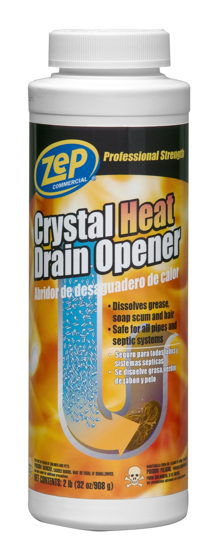 Zep Commercial ZUCRY2 32 Oz Crystal Heat Drain Opener