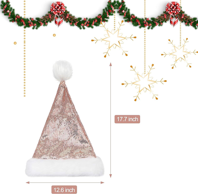 Paillettes Oro Rosa Cappello Natalizio in Tessuto Unisex Cappello di Babbo Natale con Fodera Comfort e Orlo Peluche per Adulti Festa Capodanno Natale 6 Pezzi Cappello da Babbo Natale
